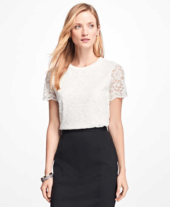 Short-Sleeve Jersey Lace Top Ivory