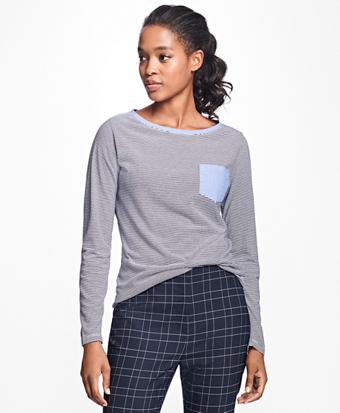 Stripe Jersey-Knit Chambray Top