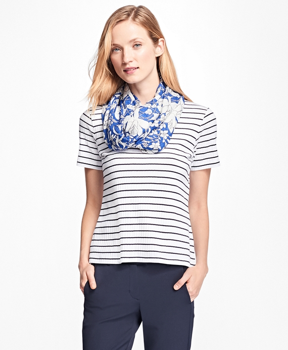 Cotton Ribbed Stripe Tee Shirt