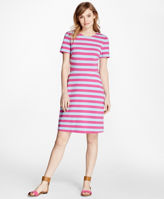 Short-Sleeve Striped Ponte Dress Fuchsia-Blue