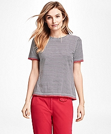 Picot-Trimmed Striped Tee Shirt