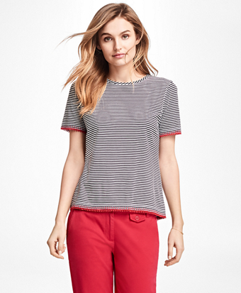 Picot-Trimmed Striped T-Shirt