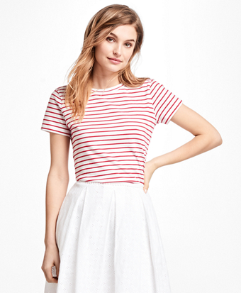Textured-Stripe Stretch Cotton Jersey T-Shirt