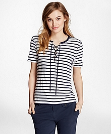Lace-Up Striped Tee Shirt
