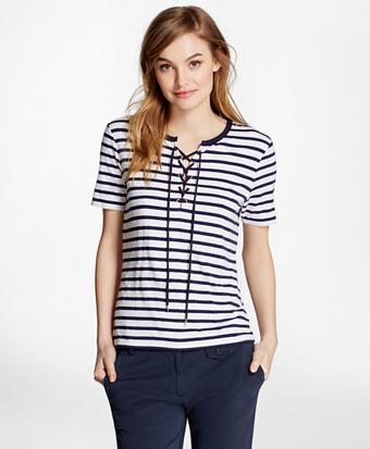 Lace-Up Striped T-Shirt