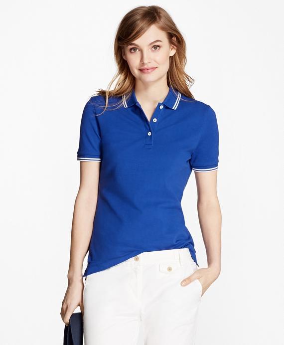 Stripe-Tip Pique Polo Shirt Blue