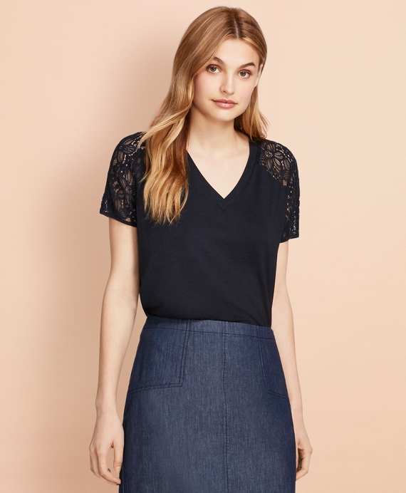 Lace-Sleeve V-Neck T-Shirt Navy
