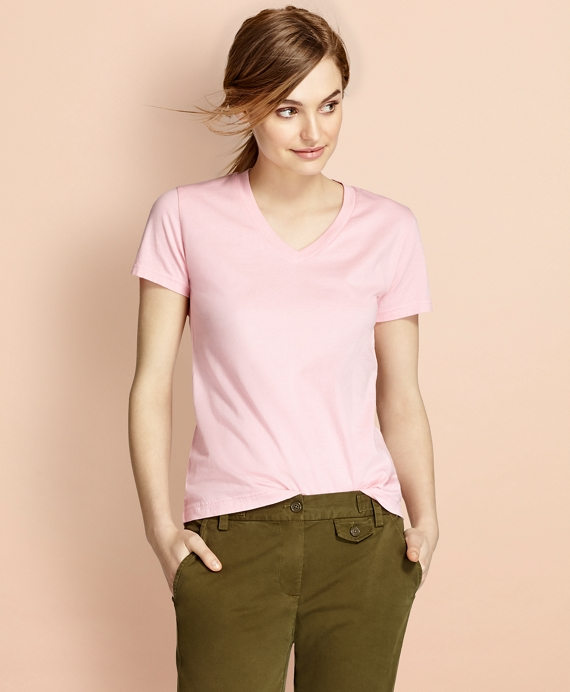 Garment-Dyed V-Neck T-Shirt Pink