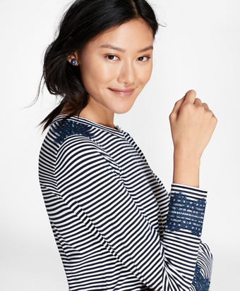 Lace-Trimmed Striped Long-Sleeve T-Shirt