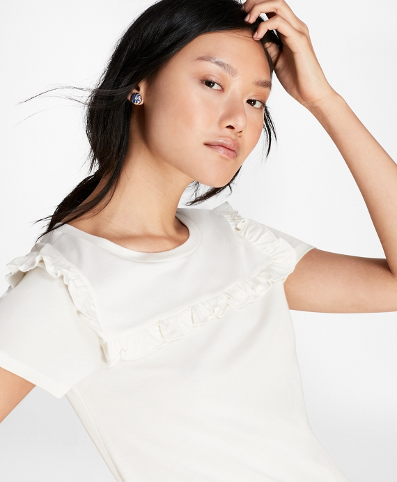 Ruffle-Trimmed T-Shirt Off White