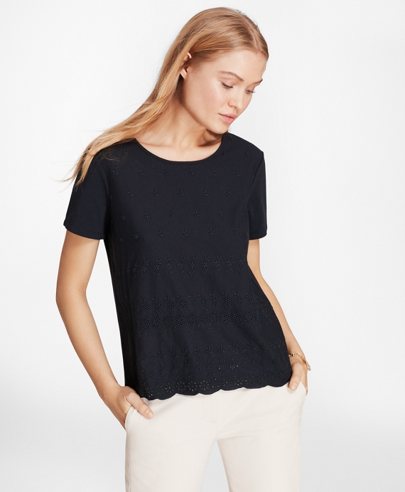 Eyelet T-Shirt Navy