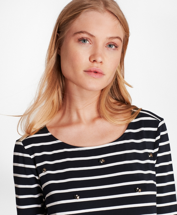 Crystal-Embellished Striped Three-Quarter-Sleeve T-Shirt Navy-White
