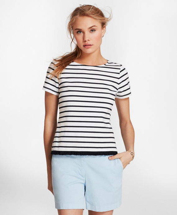 Fringe-Hem Striped Stretch Cotton Jersey T-Shirt White-Navy