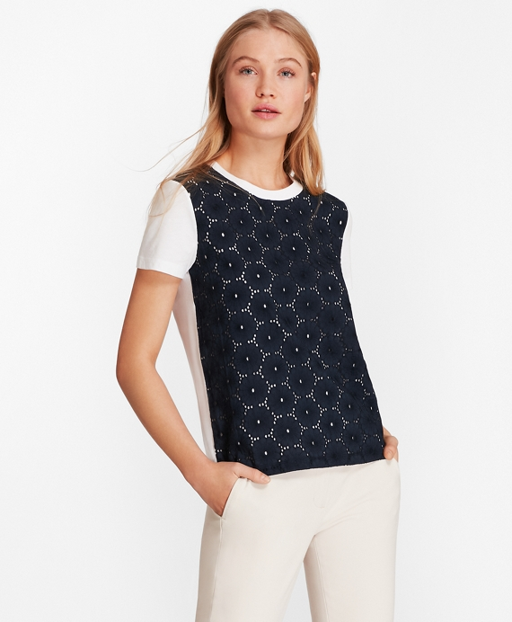 Eyelet-Panel T-Shirt White-Navy