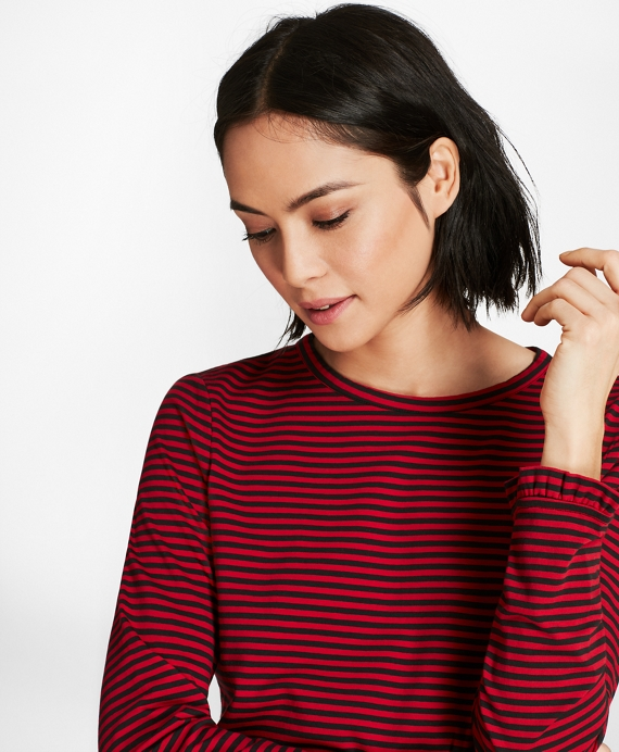 Ruffle-Cuff Striped Jersey Long-Sleeve T-Shirt Black-Red