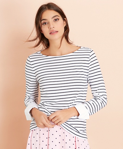 Striped Jersey Contrast-Cuff Top