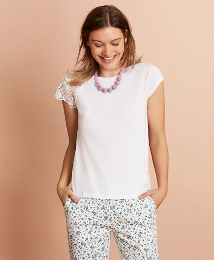 Floral Lace-Trimmed T-Shirt