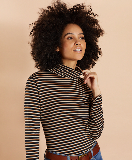Striped Long-Sleeve Turtleneck