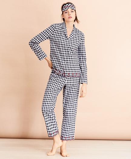 Scalloped Gingham Cotton Pajama & Eye-Mask Set