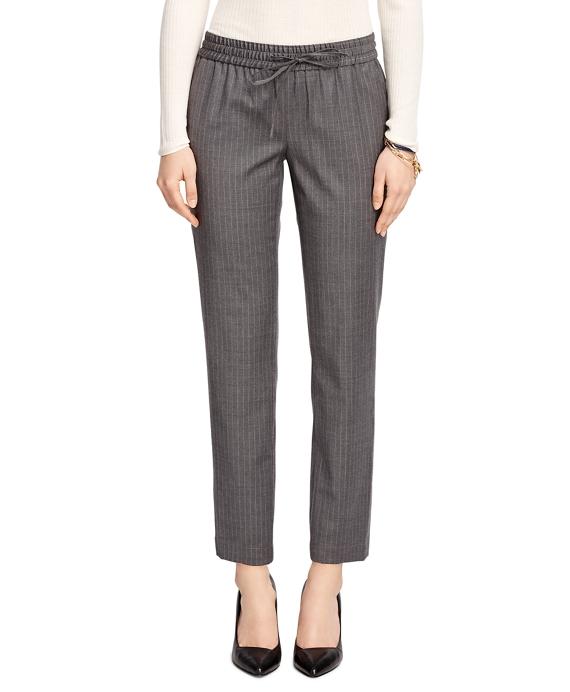 Wool Blend Pinstripe Drawstring Pants