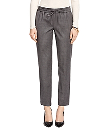 Wool Blend Pinstripe Drawstring Pants