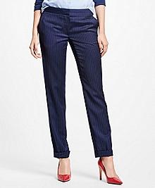 Wool Blend Pinstripe Pants