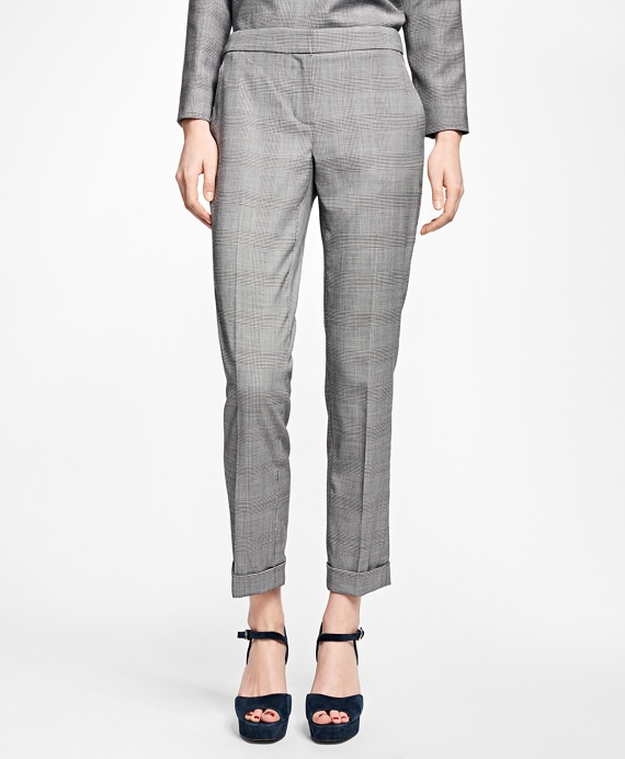 Wool-Blend Glen Plaid Pants