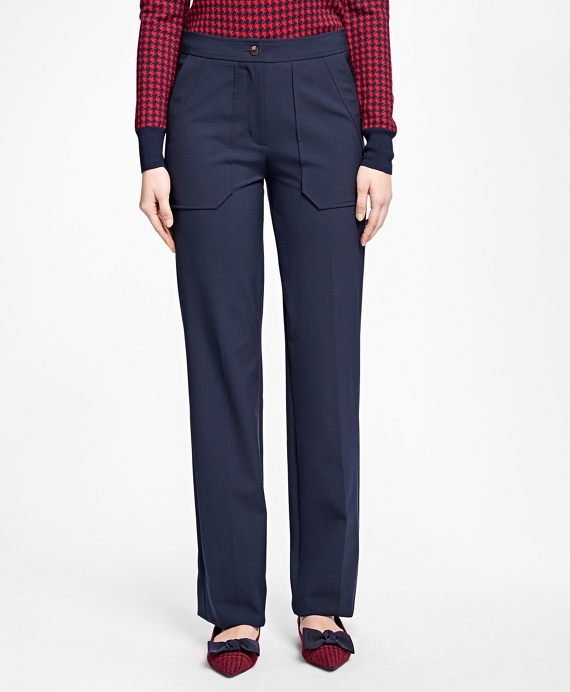 Wide-Leg Wool-Blend Pants Navy