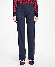 Wide-Leg Wool-Blend Pants