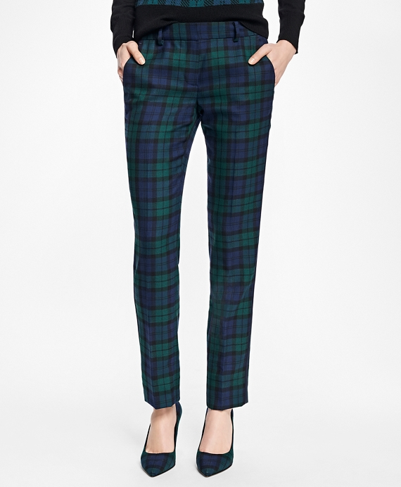Wool-Blend Black Watch Pants - Brooks Brothers