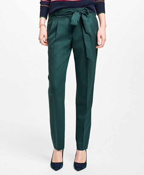 Wool-Blend Pants Dark Green