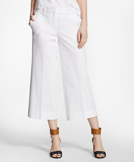 Cropped Wide-Leg Stretch-Cotton Pants White