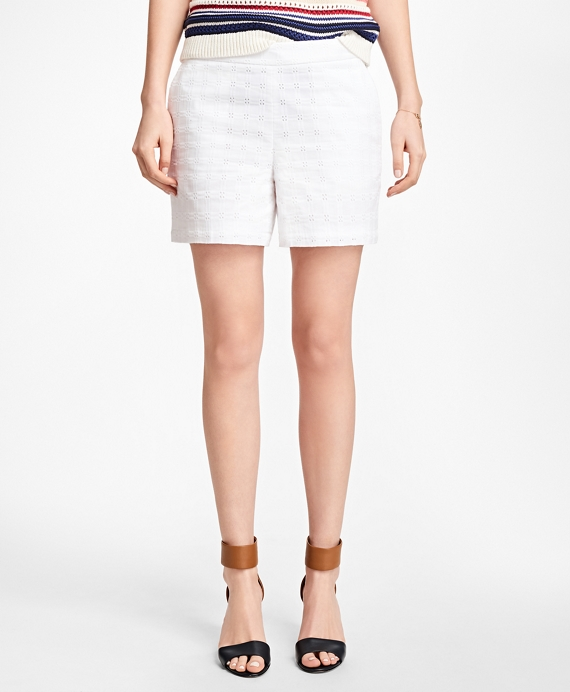 Cotton Eyelet Shorts White