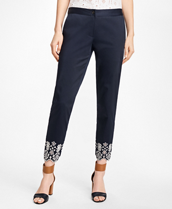 Embroidered Stretch-Cotton Sateen Pants