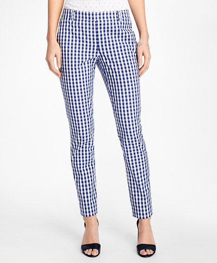 Gingham Stretch-Cotton Pants