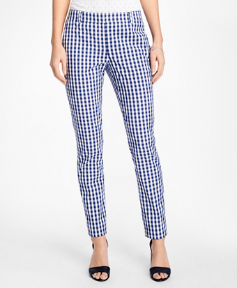 Gingham Stretch-Cotton Pants