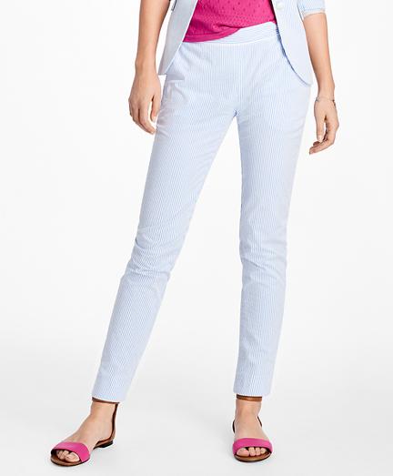 Stripe Seersucker Skinny Pants
