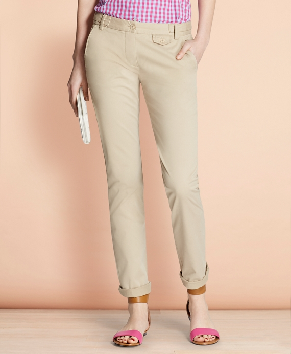 Stretch-Cotton Twill Pants Khaki
