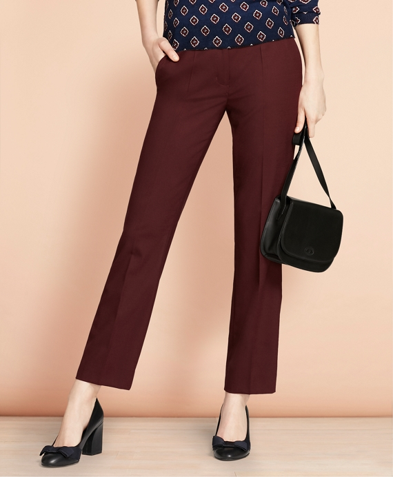 Stretch Wool-Blend Boot-Cut Pants Burgundy