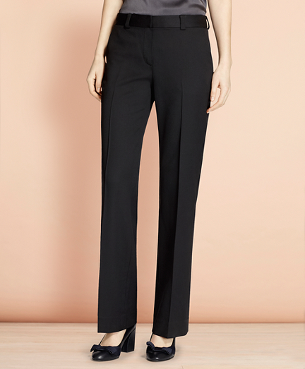 Wide-Leg Stretch Wool Trousers
