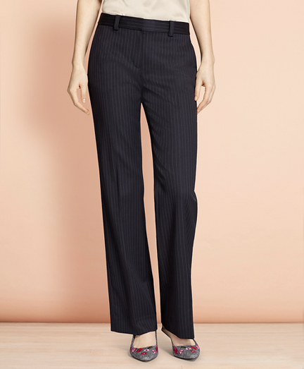 Wide-Leg Pinstripe Stretch Wool Trousers