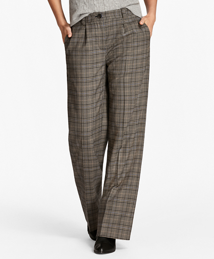 Glen Plaid Wide-Leg Pants