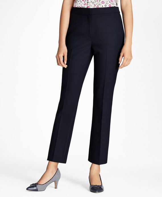 Stretch Wool-Blend Boot-Cut Pants