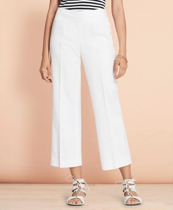 Linen-Cotton Wide-Leg Cropped Pants