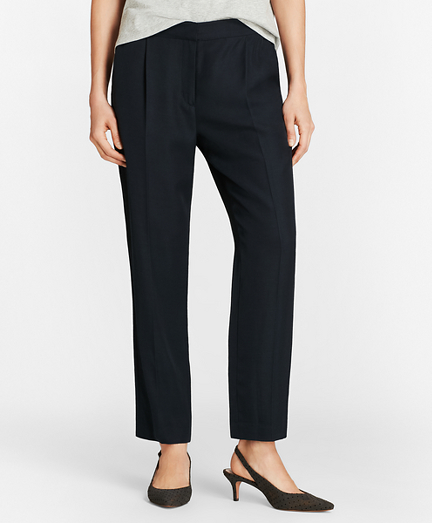 Pleat-Front Straight-Leg Trousers