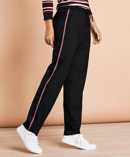 Stripe-Trimmed Wool-Blend Track Pants