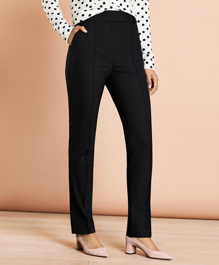 Pintucked Stretch Wool Pants