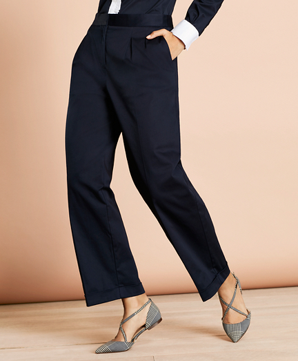 Pleat-Front Cropped Wide-Leg Pants