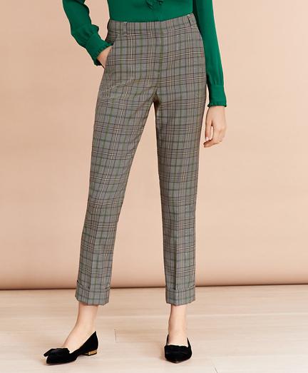 Plaid Wool Twill Cuffed Pants