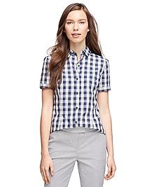 Short-Sleeve Cotton Gingham Shirt